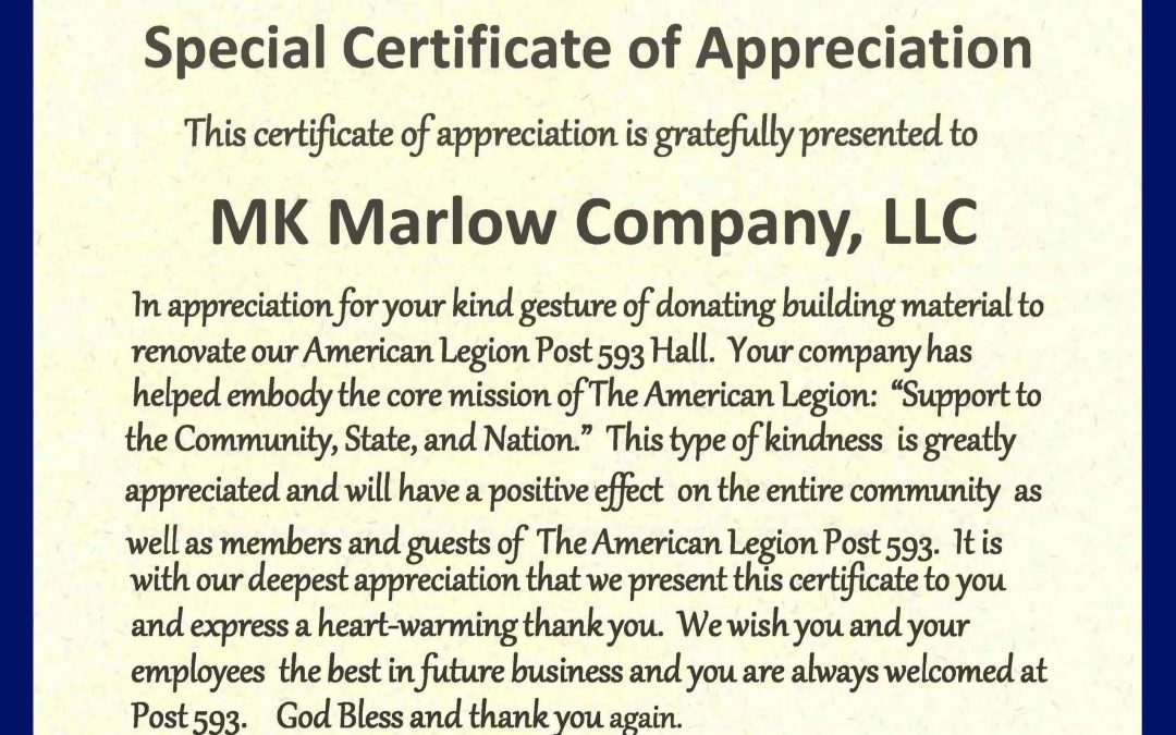 MK Marlow Company Awarded Special Certificate of Appreciation